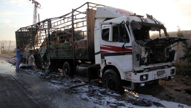 Für den Luftangriff auf einen Hilfskonvoi in Syrien wird Russland verantwortlich gemacht. (Bild: APA/AFP/OMAR HAJ KADOUR)