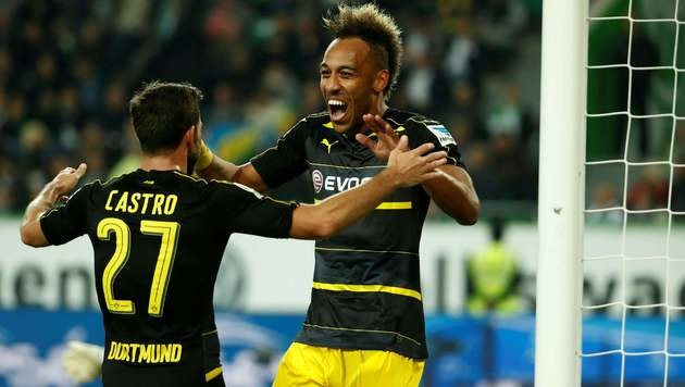 Die BVB-Fans wollen Castro und Aubameyang auch gegen Sporting so jubeln sehen. (Bild: APA/AFP/ODD ANDERSEN)