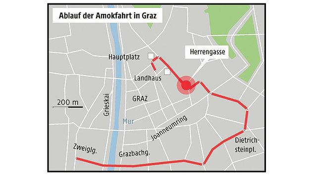 2,5 Kilometer: Etwas mehr als 6 Minuten dauerte die Amokfahrt, die Graz in Schockstarre versetzte. (Bild: Krone Grafik)