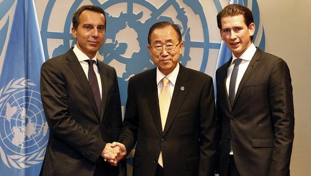 Bundeskanzler Kern und Außenminister Kurz bei einem offiziellen Termin mit UNO-Generalsekretär Ban (Bild: AUSSENMINISTERIUM/DRAGAN TATIC)