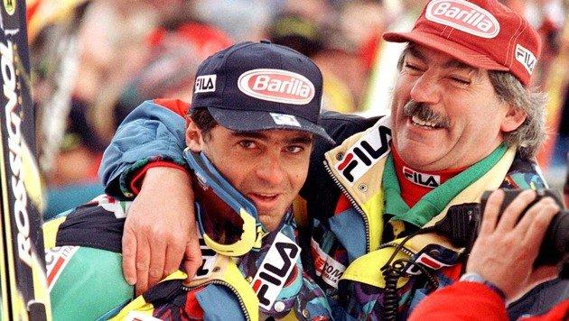 Jahrelang ein erfolgreiches Gespann: Alberto Tomba (li.) und Robert Brunner (Bild: GEPA)