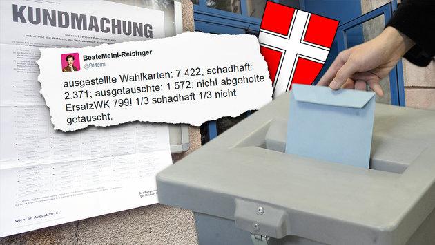 Muss Wiener Bezirkswahl erneut wiederholt werden? (Bild: APA/GEORG HOCHMUTH, APA/HERBERT PFARRHOFER, twitter.com)