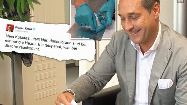 Strache vs. Klenk: Beide Drogentests negativ (Bild: twitter.com/florianklenk, facebook.com/hcstrache)