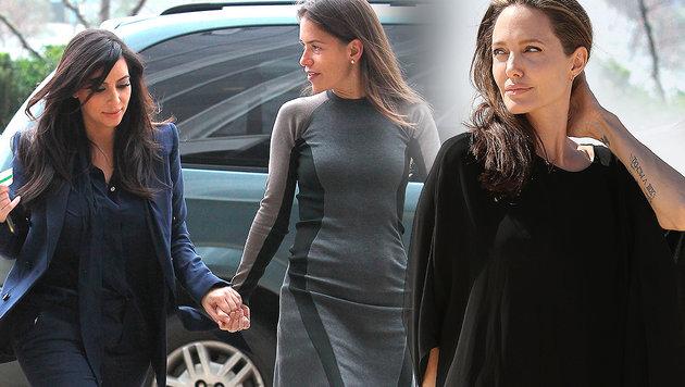 Laura Wasser (Mitte) vertrat Kim Kardashian (l.), jetzt ist sie auch Angelina Jolies (r.) Anwältin. (Bild: Viennareport, AP)