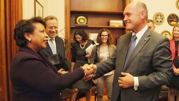 Auch ein Treffen mit US-Justizministerin Loretta Lynch stand auf dem Programm. (Bild: Starpix/Alexander Tuma)
