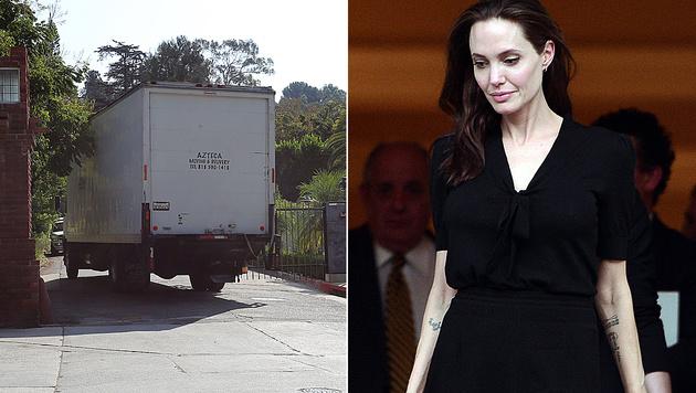 Angelina Jolie lässt ihre Sachen aus der Familienvilla abholen. (Bild: Viennareport, APA/AFP/LOUISA GOULIAMAKI)