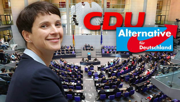 Wagt die CDU den Schritt Richtung Zusammenarbeit mit der AfD und ihrer Parteichefin Frauke Petry? (Bild: AFP/JOHN MACDOUGALL, dpa/AP/Wolfgang Kumm)