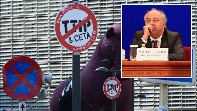 """Matthias Machnig findet, dass CETA """"ein Fortschritt"""" wäre. (Bild: APA/AFP/JOHN THYS, APA/AFP/POOL/HOW HWEE YOUNG)"""