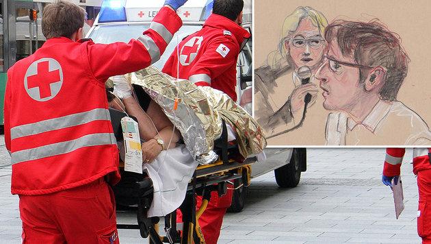Grazer Amok-Prozess: Alen R. tötete absichtlich (Bild: Christian Jauschowetz, Gerald Hartwig/zeichenstrich.de)