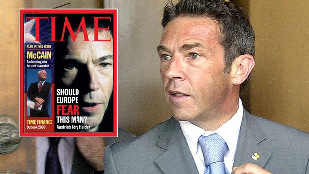"Auch Jörg Haider hatte es 2000 auf das ""Time""-Cover geschafft. (Bild: Time.com, APA/GERT EGGENBERGER)"