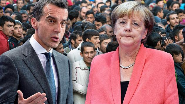 Bundeskanzler Christian Kern, Deutschlands Kanzlerin Angela Merkel (Bild: AFP/JOHN MACDOUGALL, dpa/Sebastian Kahnert)