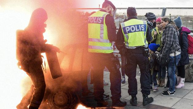 Asylkrise: Schwedens Polizei verliert Kontrolle (Bild: APA/AFP/Asger Ladefoged, EPA)