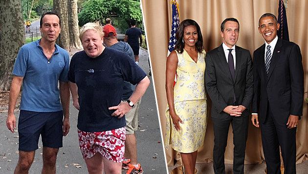 Bundeskanzler Kern mit dem britischen Außenminister Johnson und den Obamas (Bild: twitter.com/kernchri, White House)