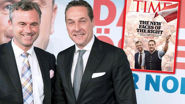 "Strache und Hofer auf Cover des ""Time""-Magazins (Bild: APA/AFP/JOE KLAMAR, Time.com)"