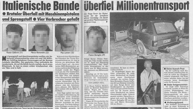 Der Geldtransporter-Überfall sorgte damals für große Aufregung. (Bild: IPA Tirol)