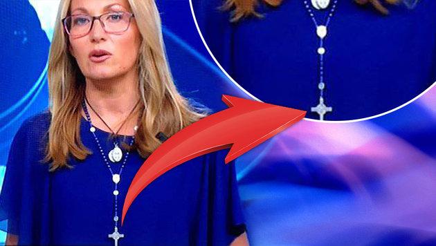 Moderatorin erntet Kritik für Kreuz an Halskette (Bild: RAI)