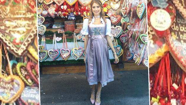 Cathy Hummels, Frau von Bayern-München-Kicker Mats Hummels, in passender Kleidung am Oktoberfest. (Bild: instagram.com)