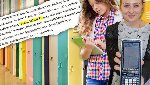 """Spinde, """"Luxus-Taschenrechner"""" - und jetzt stehen auch noch Laptops am Kostenplan der Eltern. (Bild: Markus Tschepp, Thinkstockphotos.com, """"Krone"""")"""