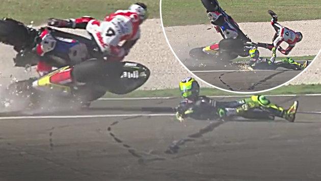 Heftiger Crash! MotoGP-Duo hatte alle Schutzengel (Bild: YouTube.com)