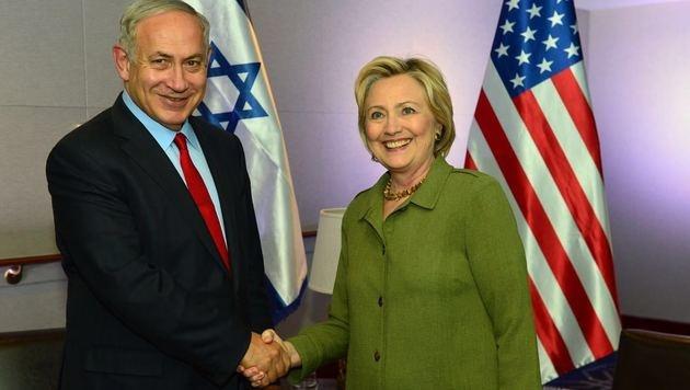 Benjamin Netanyahu und Hillary Clinton (Bild: APA/AFP/GPO/KOBI GIDEON)