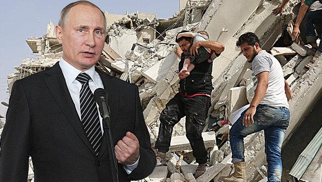 """Putin wird """"Barbarei"""" in Syrien vorgeworfen (Bild: ASSOCIATED PRESS, APA/AFP/AMEER ALHALBI)"""