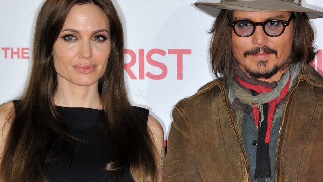 """Angelina Jolie und Johnny Depp 2010 bei einem Fototermin für den gemeinsamen Film """"The Tourist"""" (Bild: Viennareport)"""