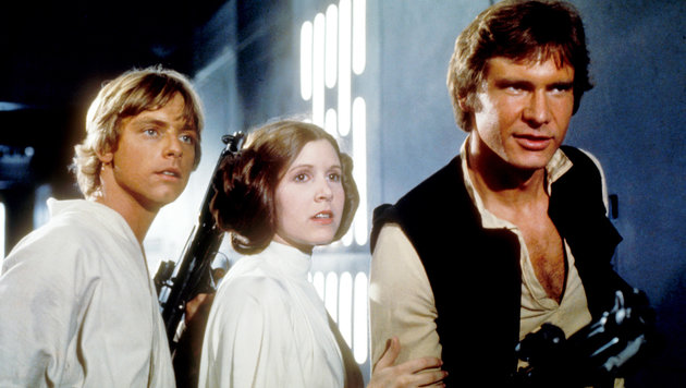 Luke Skywalker Mark Hamill, Prinzessin Leia Organa Carrie Fisher und Han Solo Harrison Ford (Bild: Moviestore Collection/face to fa)