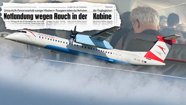 """AUA-Passagiere atmeten gefährlichen Öl-Dampf ein (Bild: Patrick Huber, """"Krone""""-Grafik, thinkstockphotos.de)"""