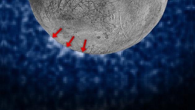 Dampf-Geysire auf Jupitermond Europa entdeckt (Bild: NASA/ESA/W. Sparks (STScI)/USGS Astrogeology Science Center)