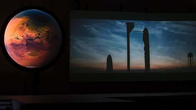 Bilder von der Präsentation des Marsprojekts (Bild: APA/AFP/HECTOR-GUERRERO)
