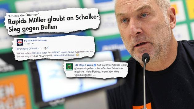 Facebook-Geplänkel zwischen Salzburg und Rapid (Bild: GEPA, Facebook.com)