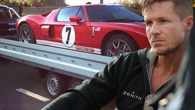 Felix Baumgartner raste mit 300 km/h über Autobahn (Bild: APA/Barbara Gindl, facebook.com/FelixBaumgartner)