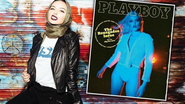 """""""Playboy"""" zeigt erstmals Muslimin mit Kopftuch (Bild: Playboy, instagram.com/ntagouri)"""