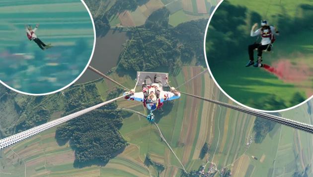 Irre Stunts auf der l�ngsten Schaukel der Welt (Bild: Red Bull Content Pool)