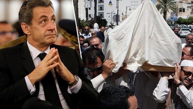 Nach dem Tod eines Gadafi-Ministers (Bild rechts zeigt die Beerdigung) führt eine Spur zu Sarkozy. (Bild: APA/AFP/THOMAS SAMSON, AFP)
