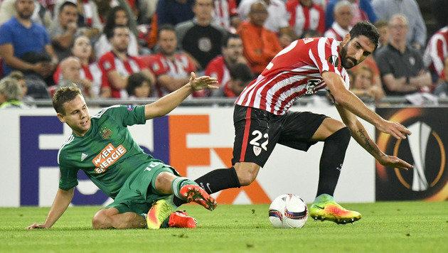 Rapid verpasst Sensation! Bitteres 0:1 in Bilbao (Bild: APA/HERBERT NEUBAUER)