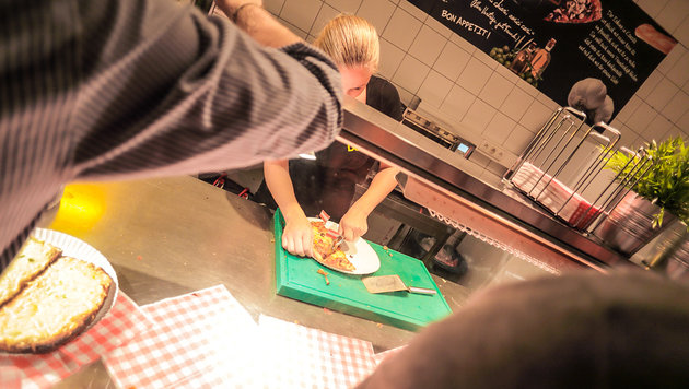 """Die beste Party-Pizza der City! (Bild: © Elmas Libohova | www.wanted.or.at)"""