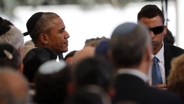 Obama erwies Peres die letzte Ehre. (Bild: APA/AFP/THOMAS COEX)