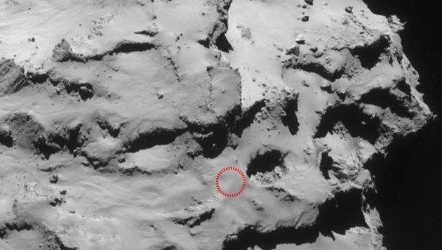 Die Landestelle (rot markiert)  von 'Rosetta' in der Region Ma'at (Bild: ESA/Rosetta/Nav-Cam)