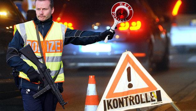 Bombenteile und Waffen an Grenze sichergestellt (Bild: APA/AFP/MARIUS BECKER, APA/dpa/Stefan Puchner (Symbolbild))