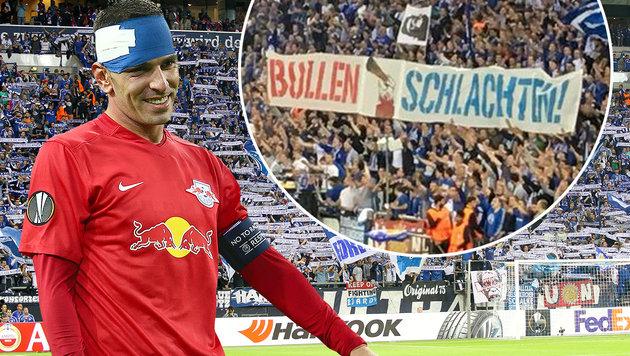 Schalke-Fans mit übler Aktion gegen RB Salzburg (Bild: GEPA, twitter.com)