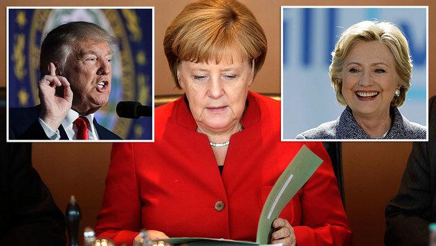 Seltene Einigkeit zwischen Trump und Clinton bei der Frage, ob Merkel eine gute Politikerin ist (Bild: ASSOCIATED PRESS)