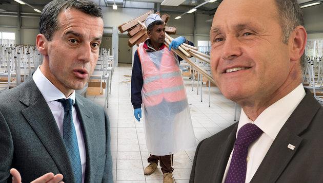 Kern und Sobotka sind uneins darüber, was ein gerechter Lohn für Flüchtlinge wäre. (Bild: APA/dpa/Wolfram Kastl, AFP/John MacDougall, APA/Erwin Scheriau)
