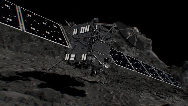 """Künstlerischer Illustration: Das Aufsetzen von """"Rosetta"""" auf dem Kometen (Bild: ESA/ATG medialab)"""