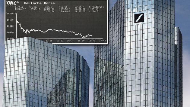 Aktienkurs im Keller: Zittern bei Deutscher Bank (Bild: AFP, AFP/DANIEL ROLAND)