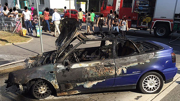 Defektes Auto prallte gegen Mauer und fing Feuer (Bild: APA/LPD WIEN)