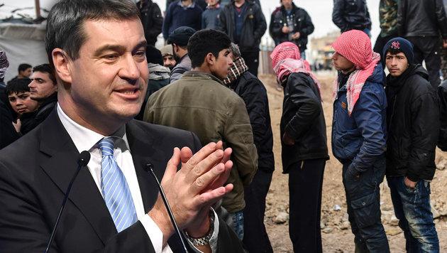 Bayern fordert Leistungskürzungen bei Flüchtlingen (Bild: AFP/Christof Stache, AFP/Bulent Kilic)