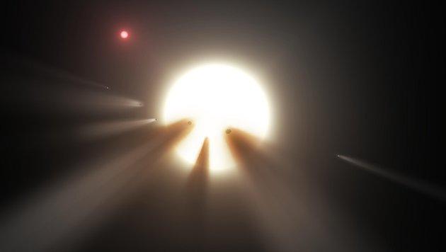 Künstlerische Illustration eines zerbrechenden Kometen (Bild: NASA)