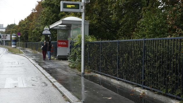 Die Bushaltestelle in Favoriten, an der es zur Attacke mit dem Auto kam (Bild: Reinhard Holl)