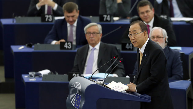 Ban Ki Moon im Europaparlament (Bild: Associated Press)